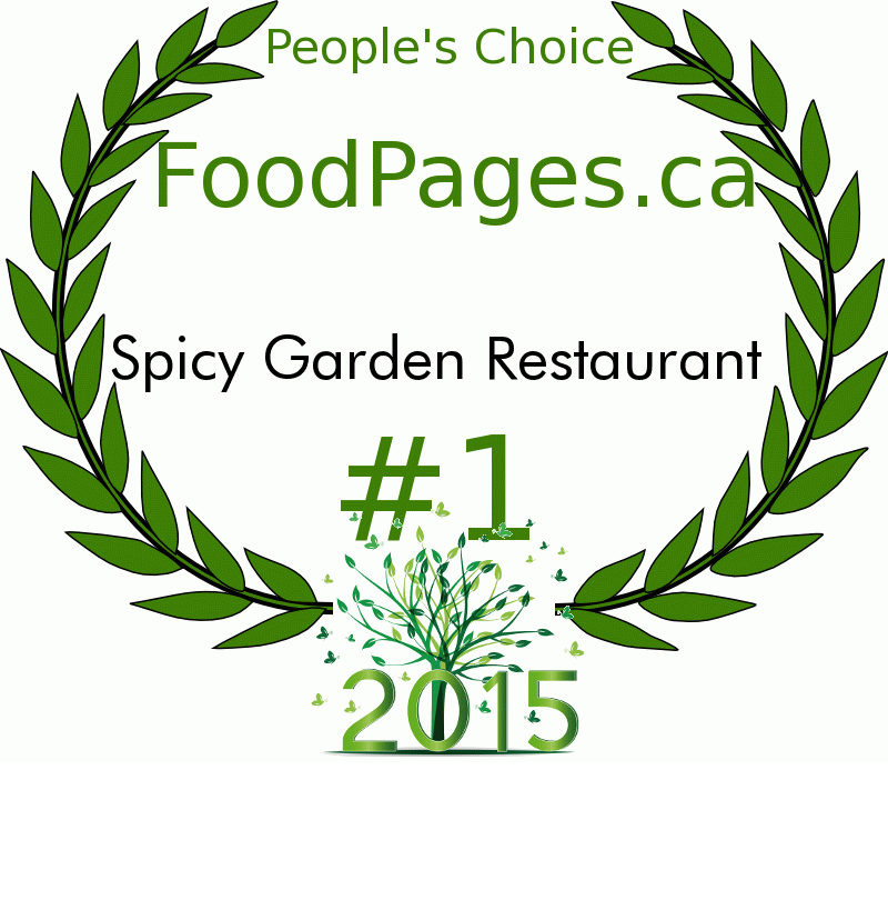 Spicy Garden Restaurant FoodPages.ca 2015 Award Winner