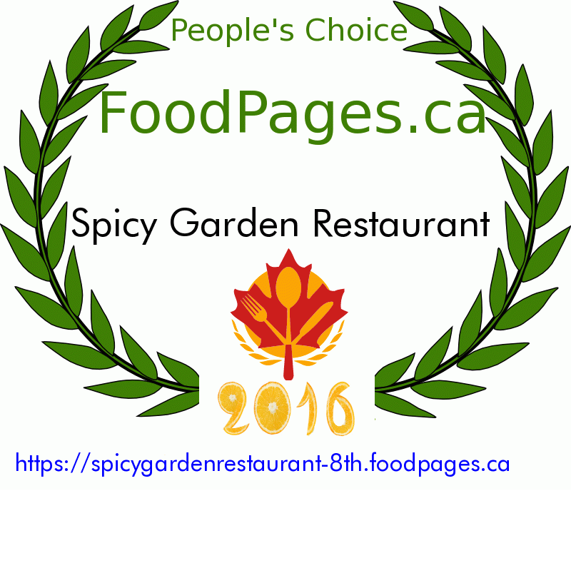 Spicy Garden Restaurant FoodPages.ca 2016 Award Winner